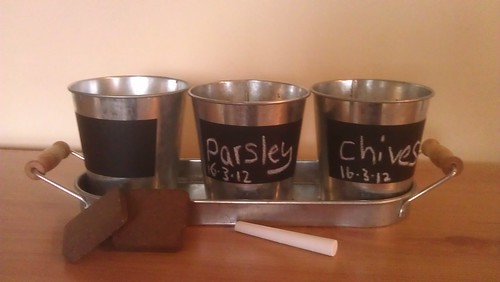 Three pots for herbs from a Gardeners' World branded kit