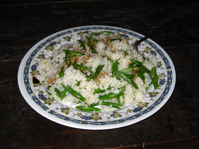 Hand pounded rice and string beans