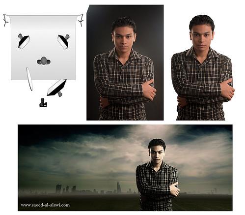 الصورة مع طريقة وضع الاضائة ومع العمل النهائي بعد القص by Saeed al alawi