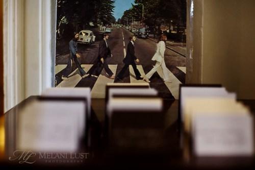 Beatles walk amongst place cards