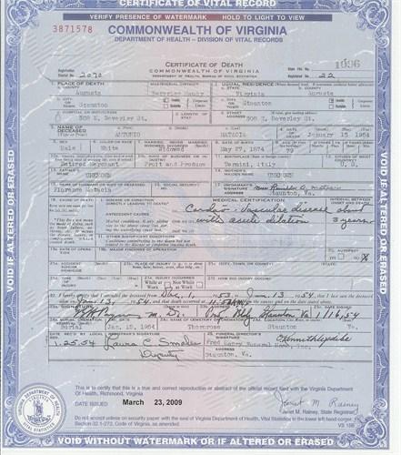 Antonio Matacia death certificate