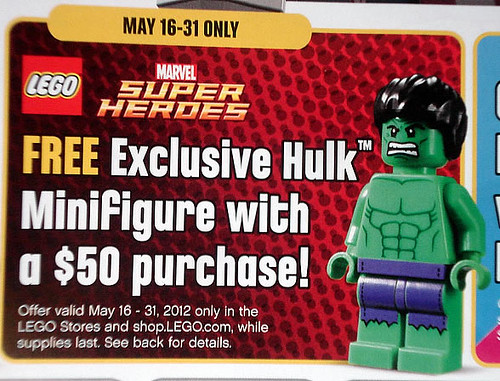 Exclusive Hulk Minifigure with $50 LEGO S@H Purchase May 16th-31st