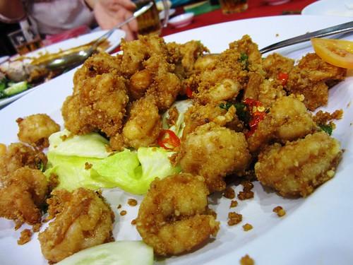 Crusty salty prawns