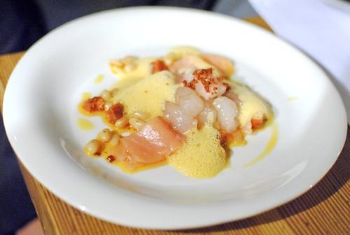 Sweet Shrimp, Miso Cream, Beans, Smoked Salmon