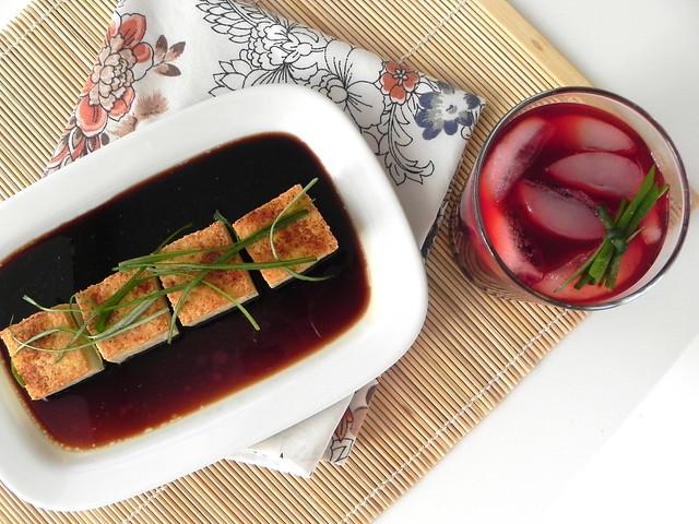 Crispy fried tofu and beet juice cocktails