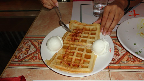 Waffles with Maple Syrup and Icecream