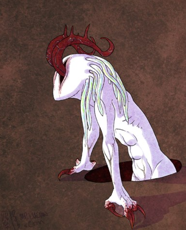 A drawing of the white, tentacled monster from the costume, emerging from a hole in the ground.  It is facing left, and has its claws on the edges of the hole, pulling itself up.  Its arms are thin and muscular, and have apparen veins.  The whole image is coloured and richly textured.  The background is a dirty, earthy colour, making a sharp contrast with the pure white monster and its bloody pink and red tentacles and talons.