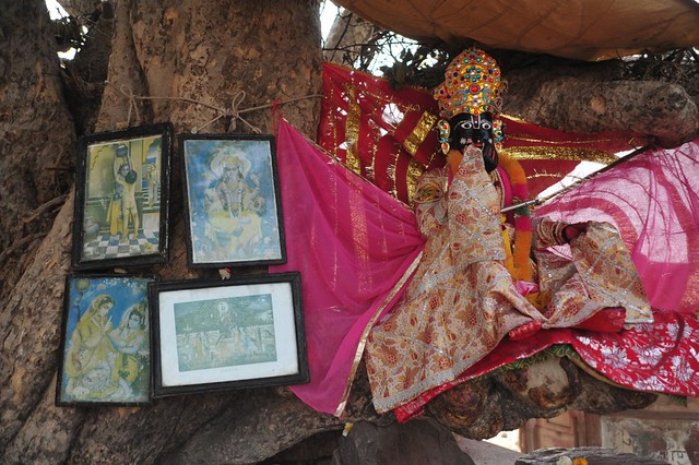 Lord on a tree, next to river Yamuna teasing Gopikas