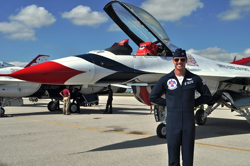 "Captain Jason ""Jaws"" Curtis of USAF Thunderbirds at the Punta Gorda Airport in Preparation for the 2014 Florida International Air Show"