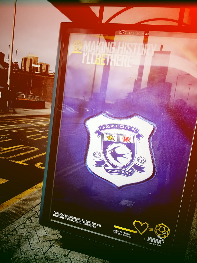 Cardiff City advert on bus stop