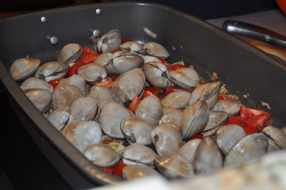 Oven Baked Clams with Tomato and Pancetta