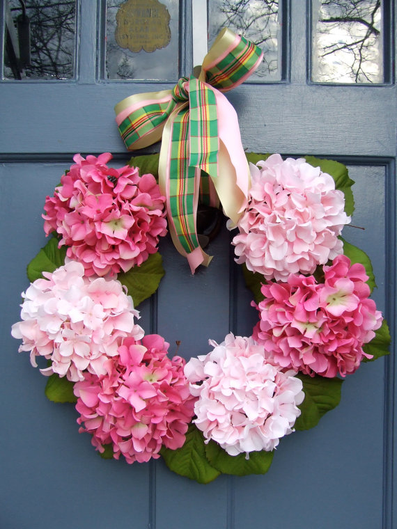 coroa de flores da primavera rosa