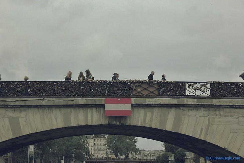 Love locks on bridge over Seine in Paris