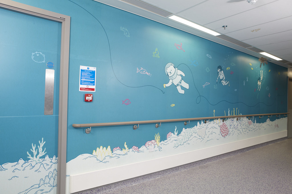Artwork to calm and distract children on their route to surgery in the new Royal London Children's Hospital