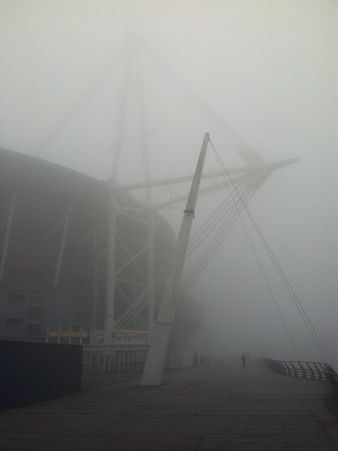 Foggy Millennium Stadium on St David's Day