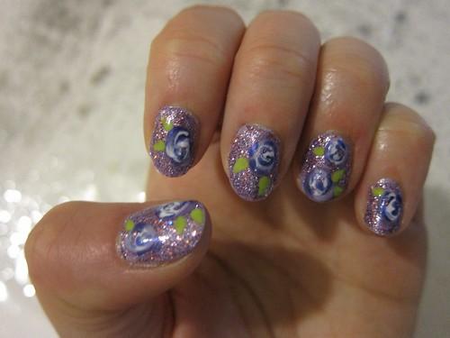 Purple Glitter/Purple Flower Nails