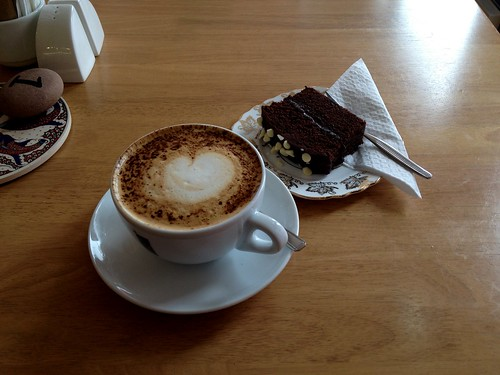 Coffee and chocolate cake with white chocolate garnish