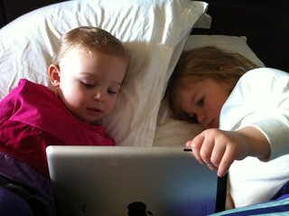 Happiness is watching Dora on the iPad