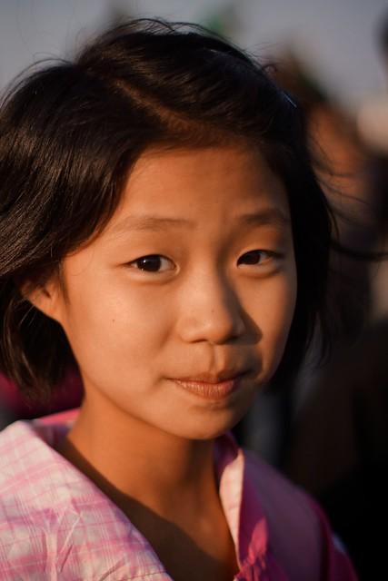 Girl in Wonson City Square, North Korea