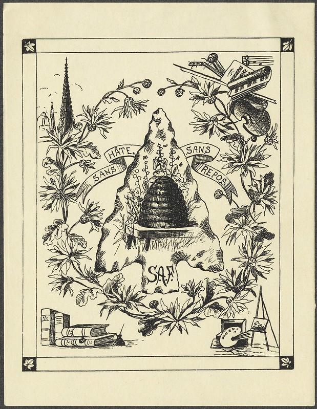 """Gravura bookplate """"ocupado"""" com florais de exibição, colméia de canto + vinhetas de livros e instrumentos musicais"""