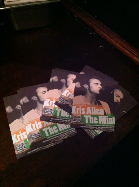 Kris Allen live at The Mint LA concert postcards