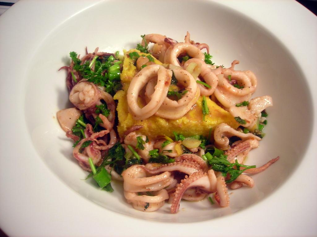Venetian-style calamari, with herbs and polenta