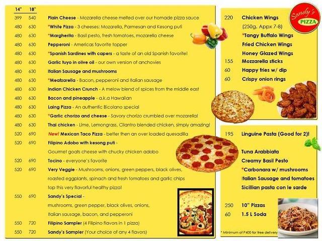 Sandy's pizza menu