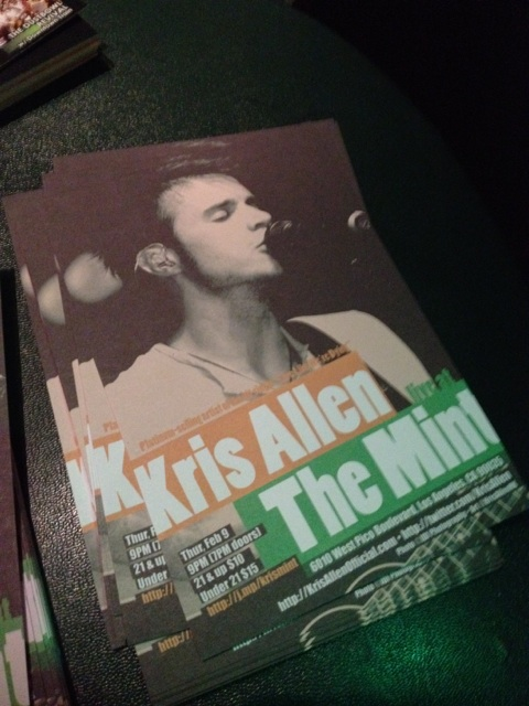 Kris Allen live at The Mint LA concert postcards