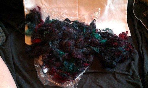Local mohair. Lock structure not maintained in dyeing. Card into batts? by Miss Knotty