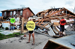 Lancaster, USA -- Students Hold Dots Amidst Tornado Wreckage