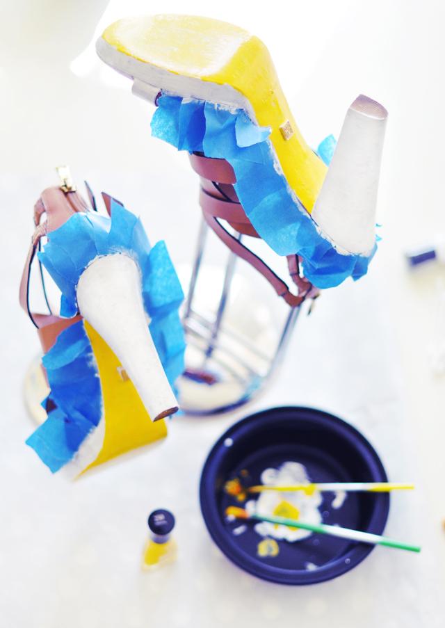Neon Shoes DIY - paint leather shoes 6