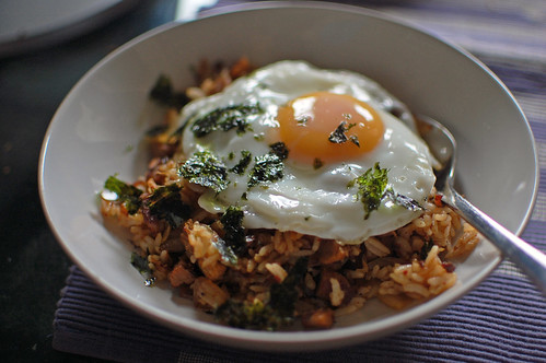 Leftover Bo Ssam with Kimchi and Rice and Egg