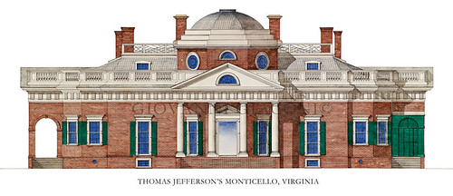 Thomas Jefferson's Monticello, Virginia, USA by Giovanni Giaconi Illustrator