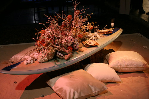 Surfboard table and cushions