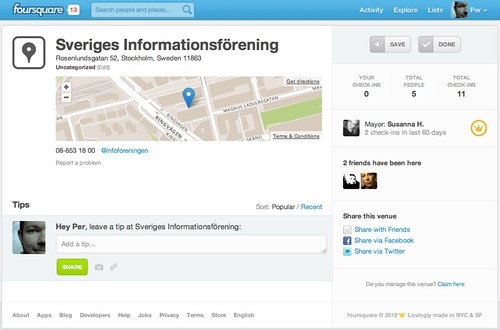 Sveriges informationsförening på Foursquare