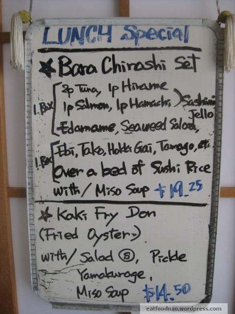 Lunch Menu Special Bara Chirashi