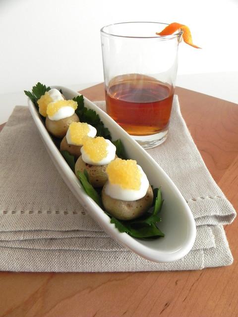 Caviar stuffed mini potatoes and the Duke of Marlborough