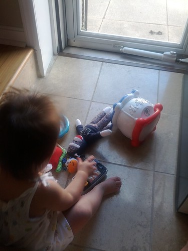 Piling toys by the front door