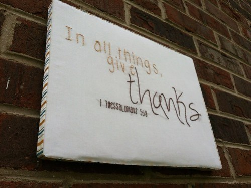 give thanks embroidery on canvas