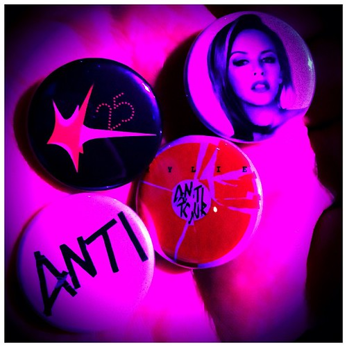 My @KylieMinogue #antitour badges.