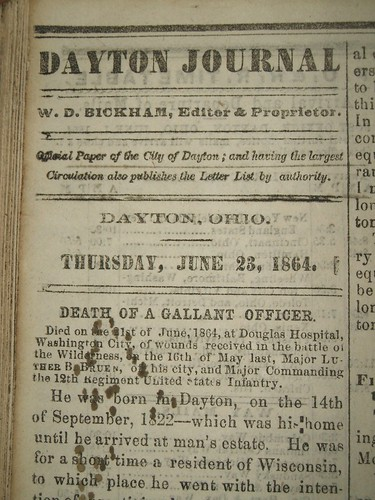 Death of a Gallant Officer, Dayton Journal, 23 June 1864, pg 2