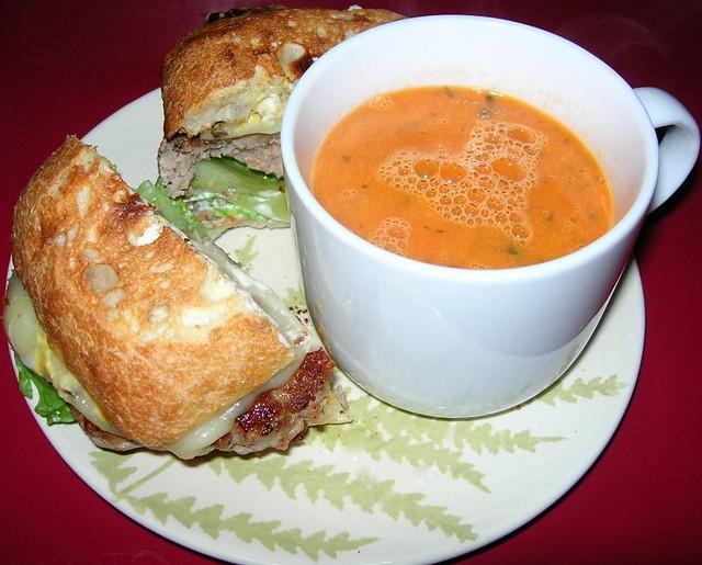 Fresh Tomato Basil Soup & Turkey Burger