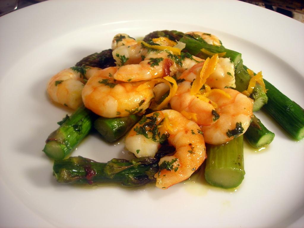 Shrimp, asparagus, orange zest