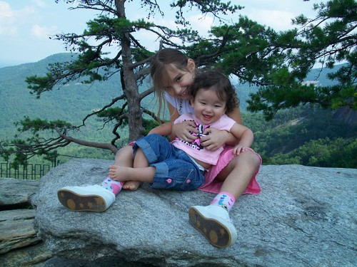 Elle & Lilah on Chimney Rock (NC)
