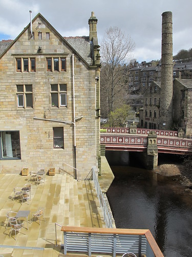 Hebden Bridge views from The Gin Terrace at the Town Hall