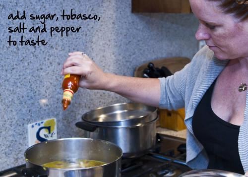 add sugar tobasco salt pepper