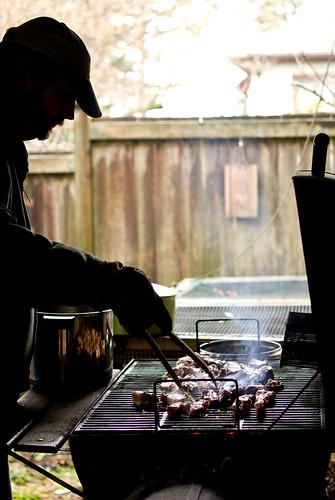 grillin' in the rain
