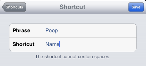 Enter Phrase and Shortcut Text