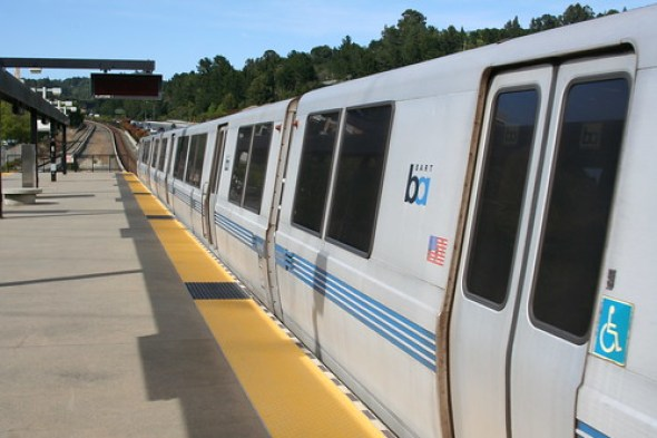BART train - Bay Area Rapid Transit - at Orinda Station in daylight no. 2565