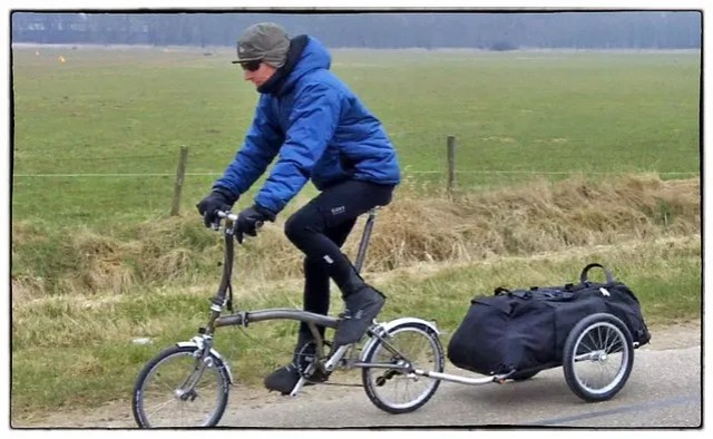 Stijn on his Brompton + Radical Design trailer